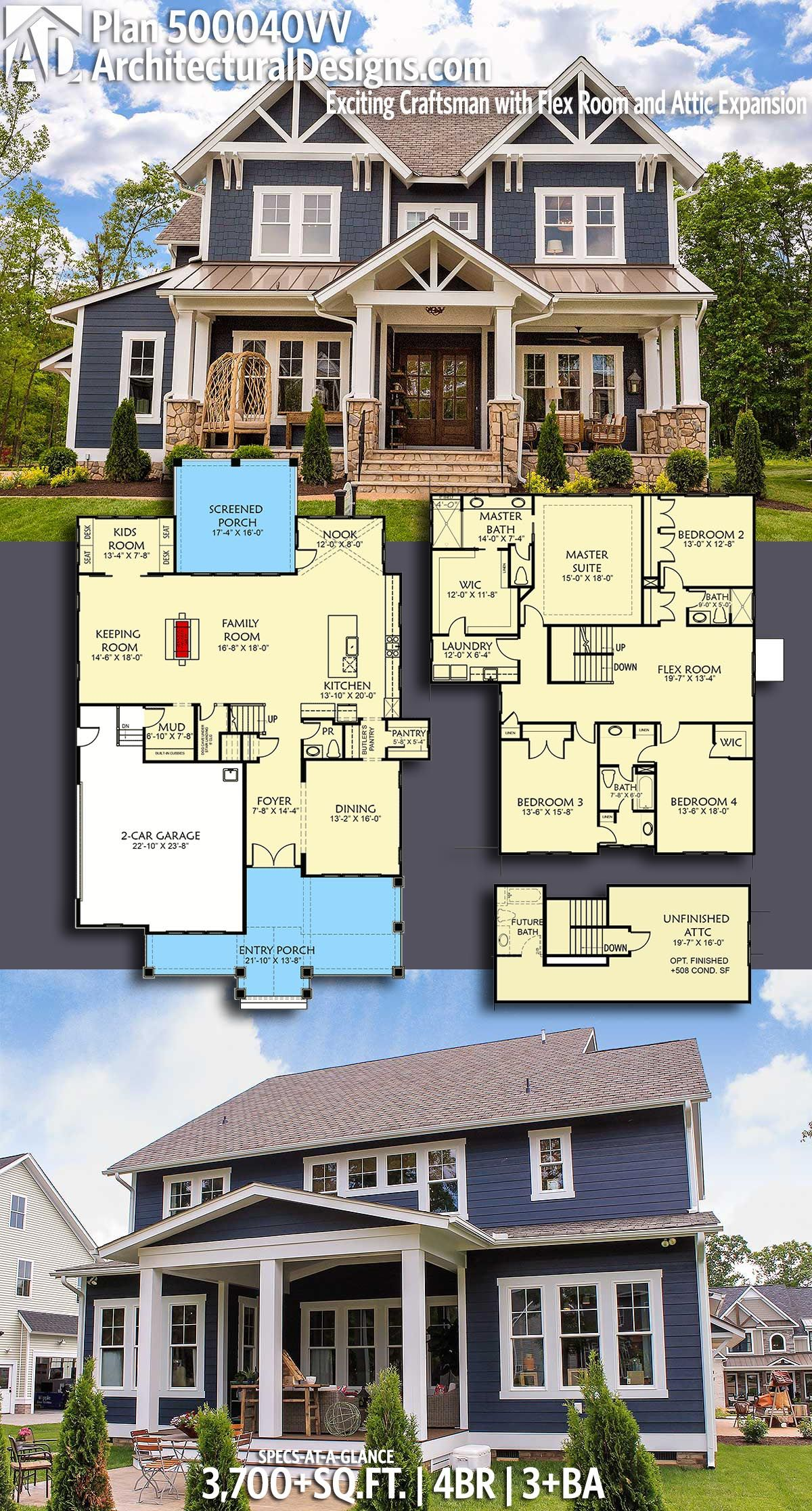 Plan 500040vv Exciting Craftsman With Flex Room And Attic Expansion Craftsman House Plans Flex Room House Plans