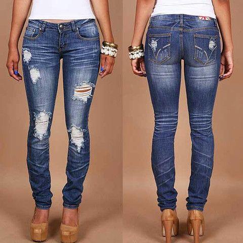 Machine Jeans Destroyed Skinny Denim Medium Wash