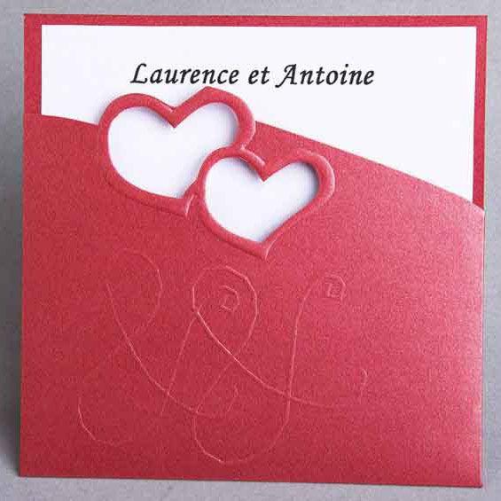 rouge faire part mariage romantique poche style JM116