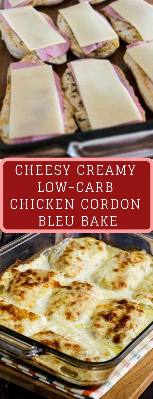 CHEESY CREAMY LOW-CARB CHICKEN CORDON BLEU BAKE #Chicken #Lowcarb #Cheesy #Creamy #lowcarbmeals
