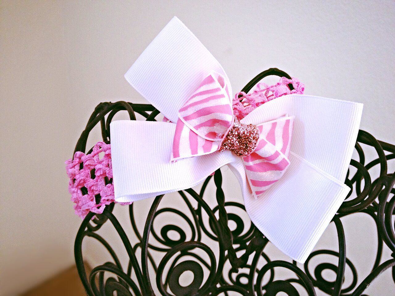 Pink and white zebra bow with soft pink elastic by thehurleyshop