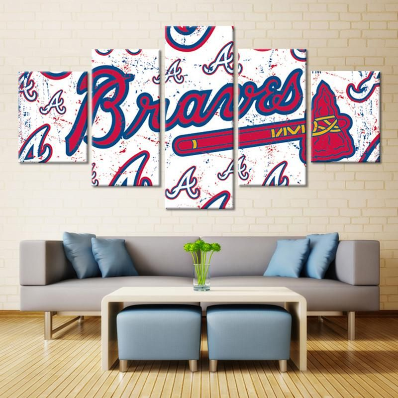 Atlanta Braves Mlb Baseball 5 Panel Canvas Wall Art Home Decor Baseball Room Decor Canvas Wall Decor Home Decor