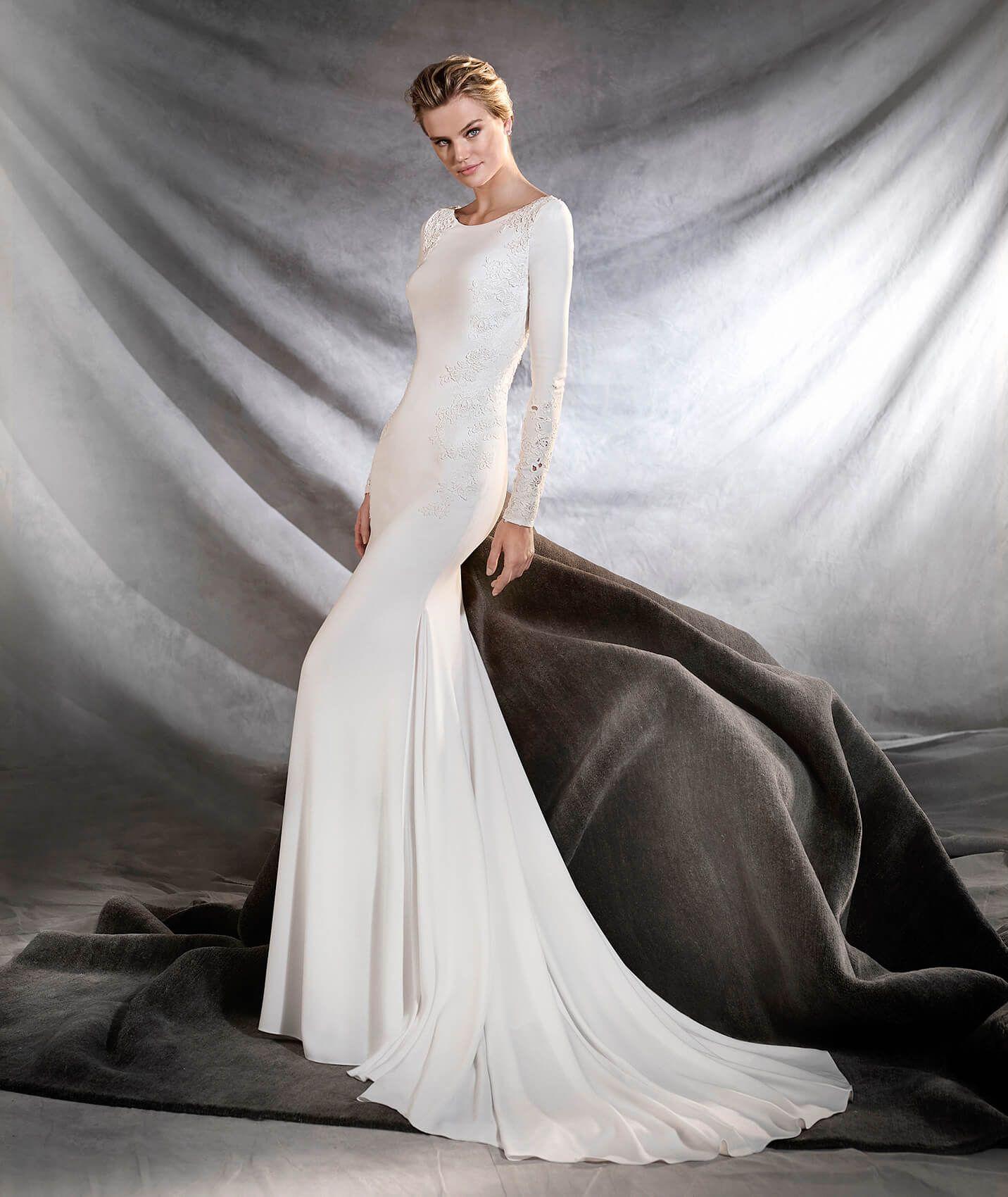 1ac9a6d3eda9 ORQUIDEA - Vestido de novia de escote barco | Vestidos de novia ...