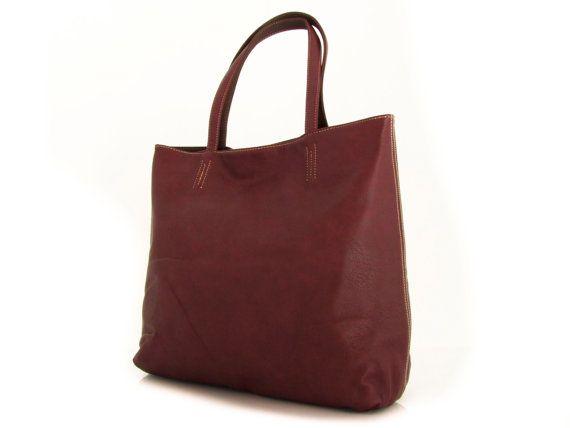 vegan leather handbag purse burgundy and brown -.-  the Rosaleen -.- new collection.