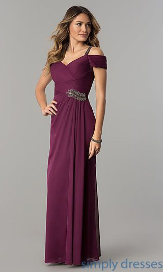 73196c11888 Shop long mother-of-the-bride dresses in sangria purple at Simply Dresses.  Cold-shoulder formal ruched evening dresses with beaded accents.