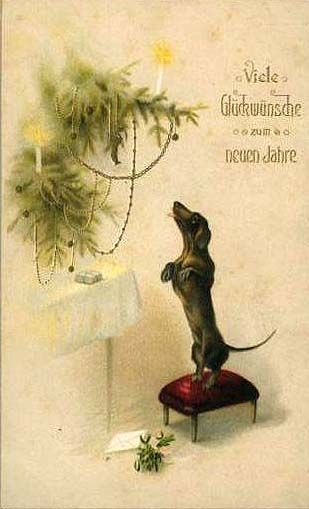 vintage german many congratulation with the new year card