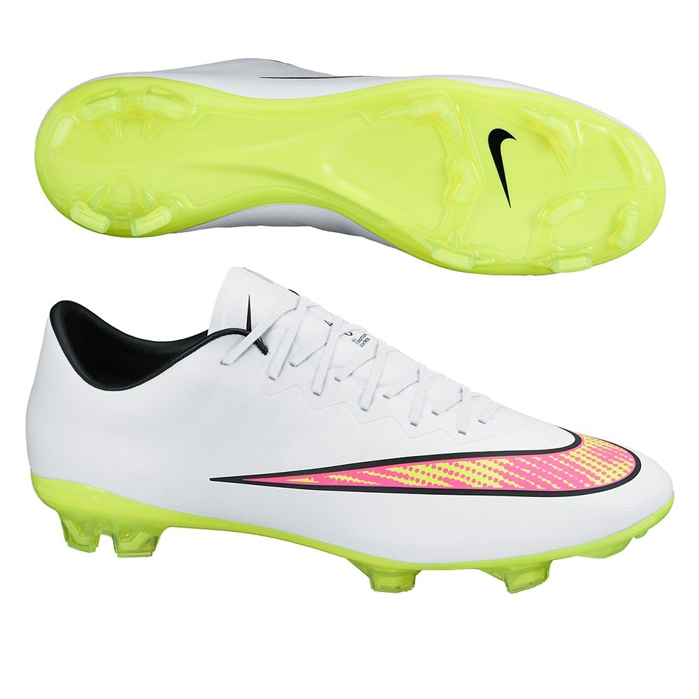602990140916 Nike Mercurial Vapor X Soccer Cleats (White Hyper Pink Volt). Get your new  pair of soccer boots today at SoccerCorner.com!