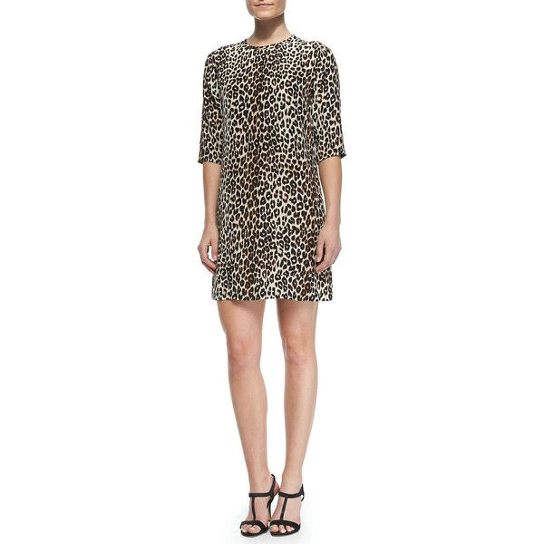 48a98239f7 Equipment Aubrey Silk Animal-Print Dress (355 CAD) ❤ liked on Polyvore  featuring dresses