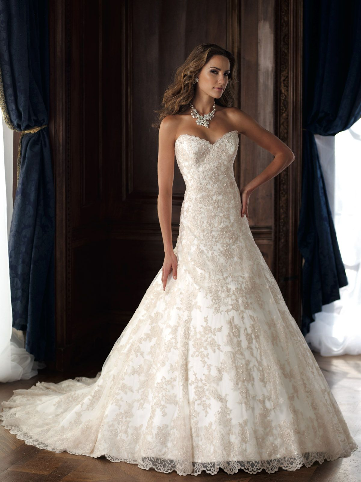 Wedding Dresses 2013 Collection Strapless Allover Delicately Hand Beaded Lace And Tulle A