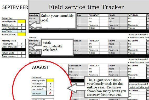Auto Calculating Service time / JW / Field Service Organizer