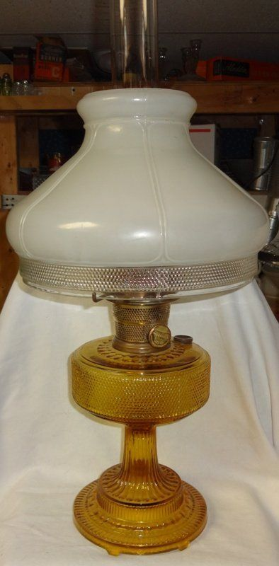 Aladdin Colonial Amber Lamp With Hobnail Shade Oil Lamps Lamp