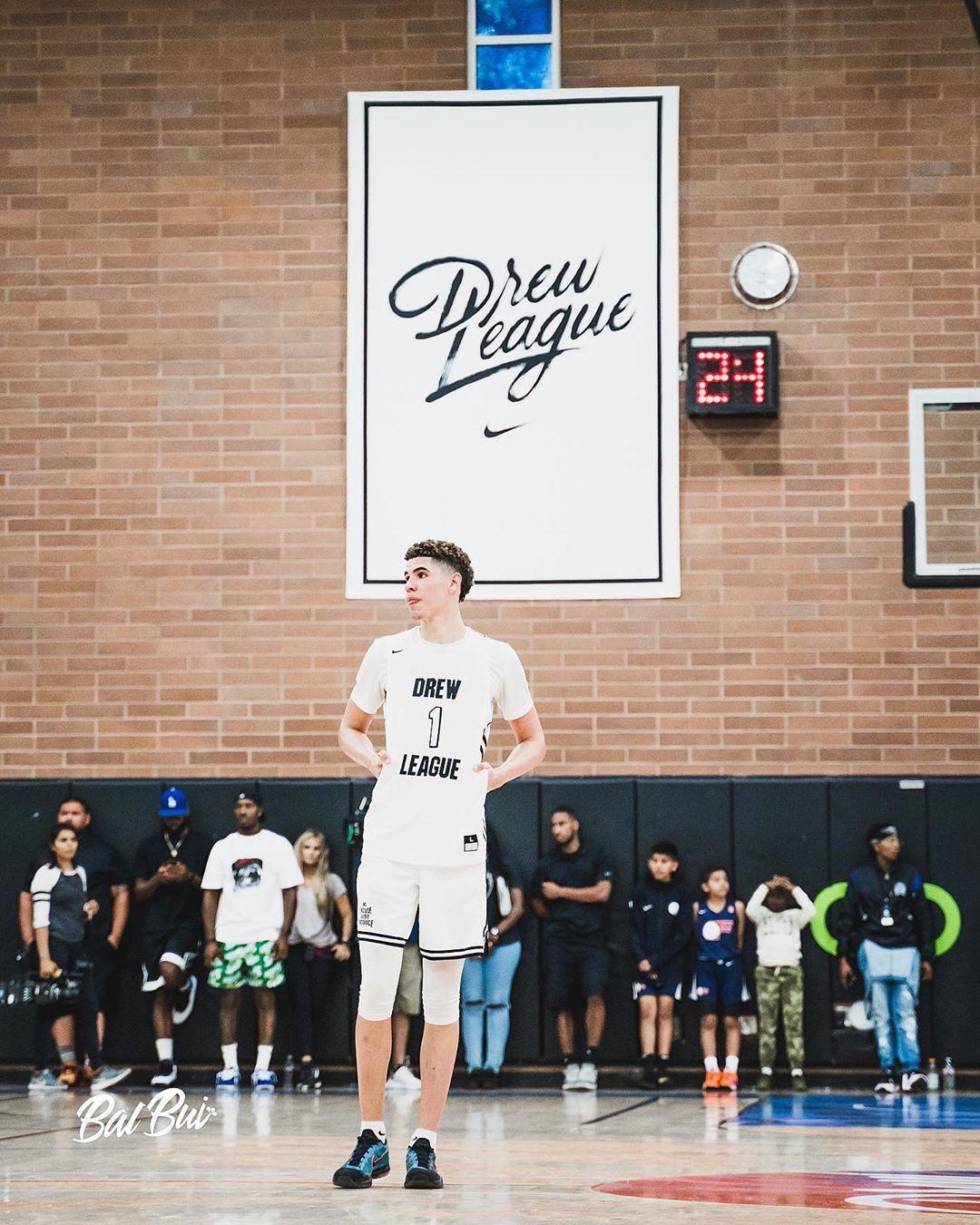Melo S Drewleague Debut Lamelo Ball Ball High School Basketball