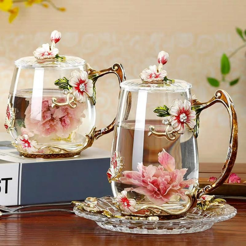 Beauty And Novelty Enamel Coffee Cup Mug Flower Tea Glass Cups for Hot and Cold Drinks