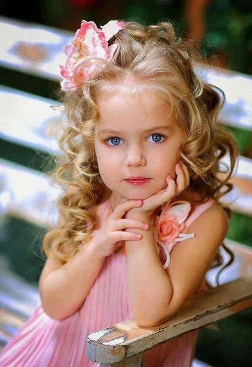 Flower Girl Long Hair Blue Eyes Cute Little Girl Long Blond