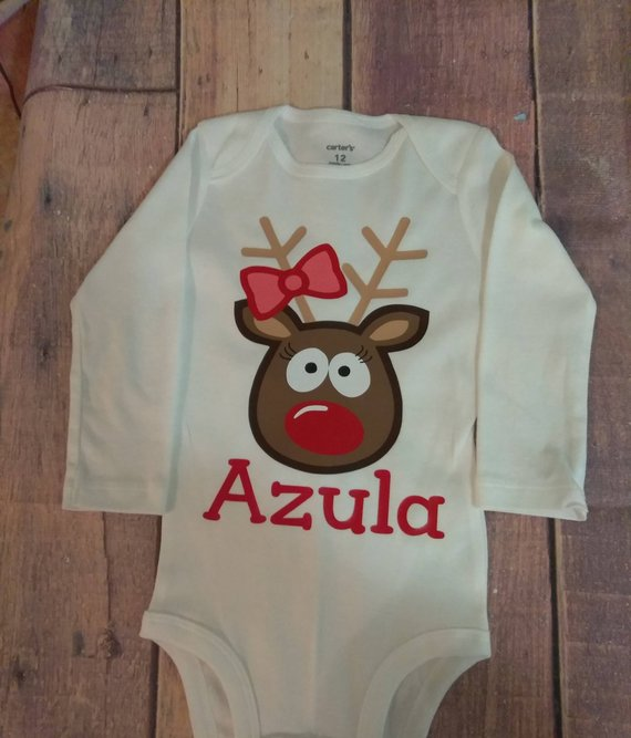 4d4482017 Infant Baby Girl's Personalized Holiday Bodysuit Reindeer Christmas Outfit  Baby's First Christmas Ou