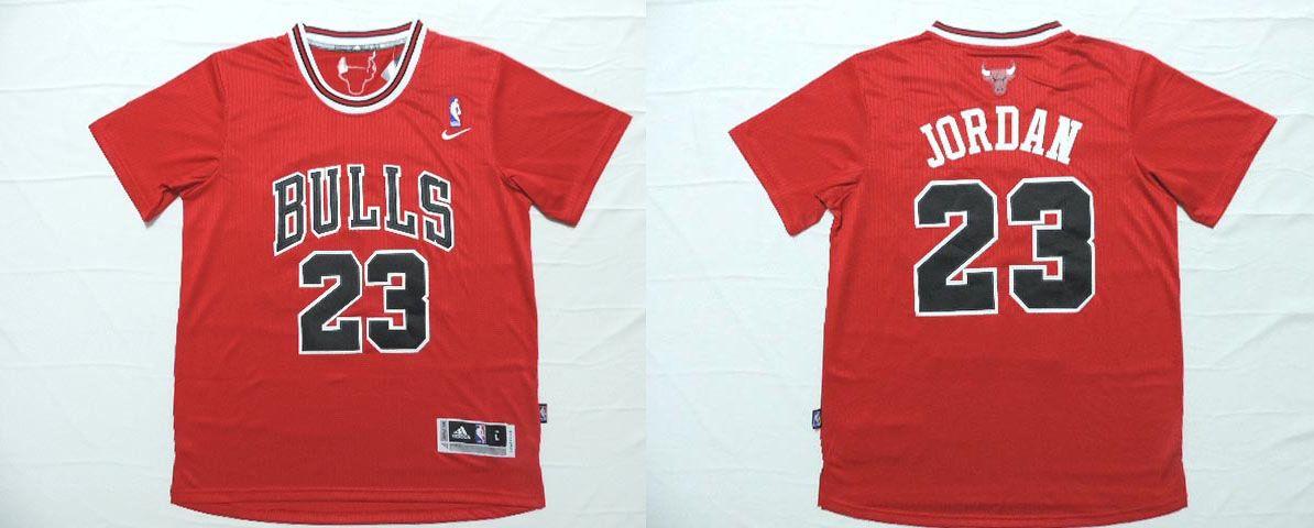 Chicago Bulls #23 Jordan Red Men 2017 New Logo NBA Adidas T