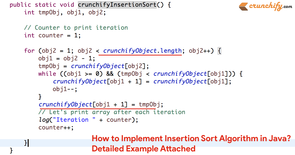 How To Implement Insertion Sort Algorithm In Java Detailed