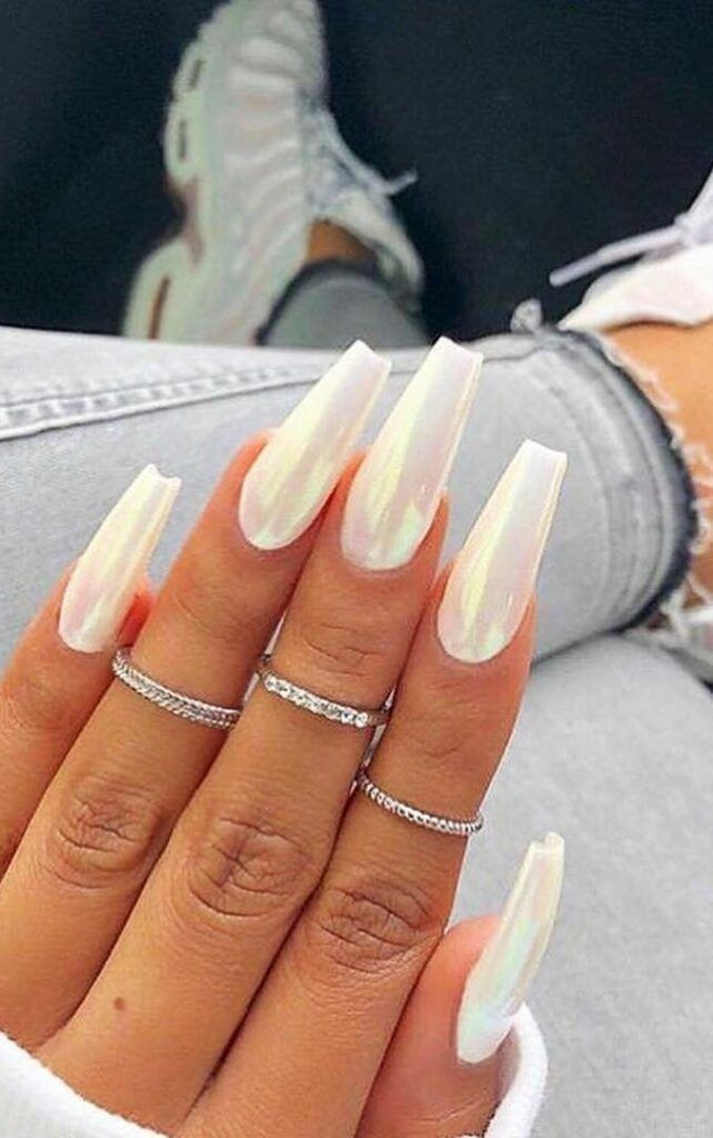 30 Fancy Coffin Acrylic Nails For 2020 Coffin Acrylic Nails Still Remain Popular Today Acryli White Acrylic Nails Almond Acrylic Nails Simple Fall Nails