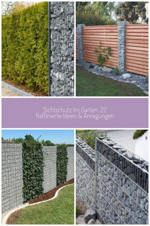 Gabionen Und Hecke Als Sichtschutzkombination Gabionen Zaun