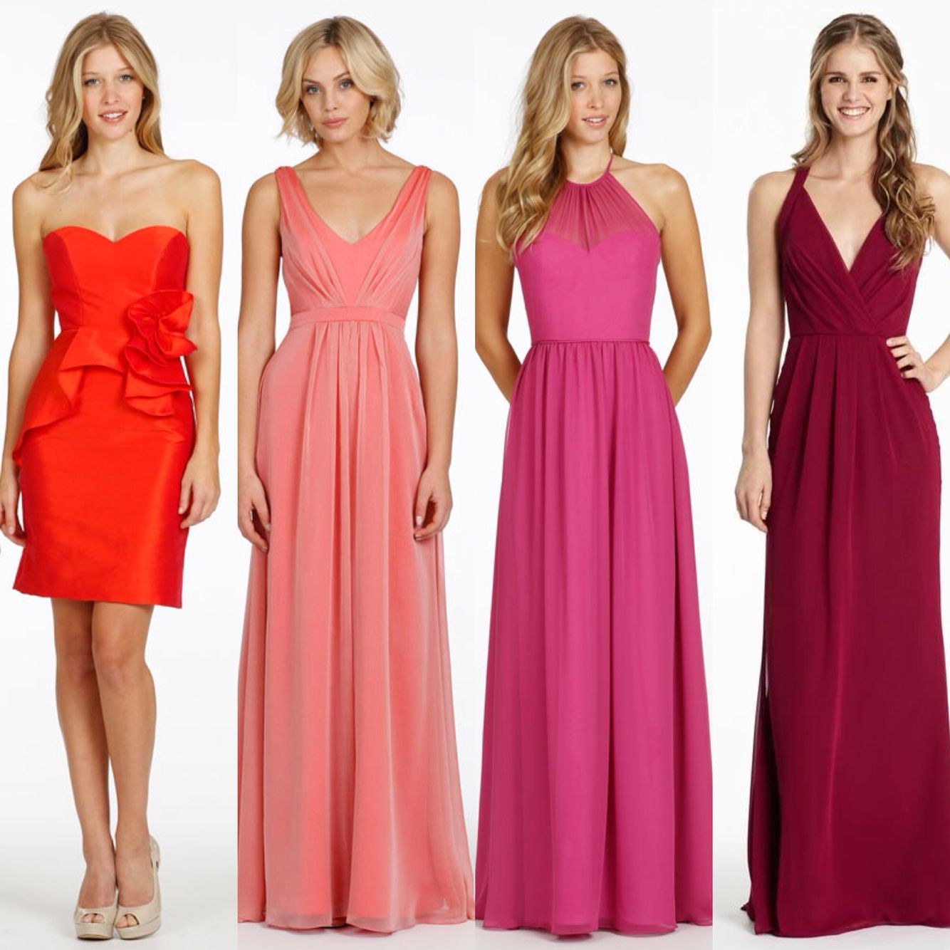 Orange tangerine coral pink raspberry and red cherry colour orange tangerine coral pink raspberry and red cherry colour bridesmaid dresses available to ombrellifo Gallery
