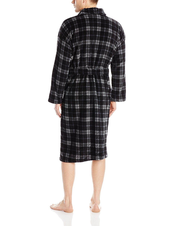 men s plaid plush bathrobe black charcoal cs11kb9fevh on cheap insulated coveralls for men id=20032