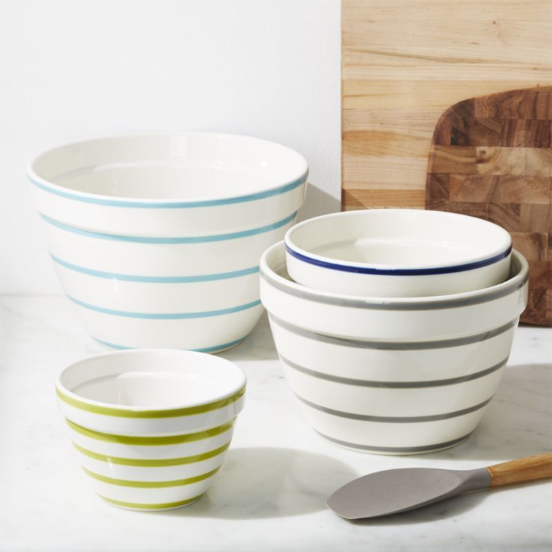 Avery Striped Mixing Bowls Set Of 4 Reviews Crate And Barrel Mixing Bowls Ceramic Mixing Bowls Crate And Barrel