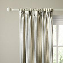 John Lewis Ticking Stripe Lined Pencil Pleat Curtains Pearl Grey Online At Johnlewis