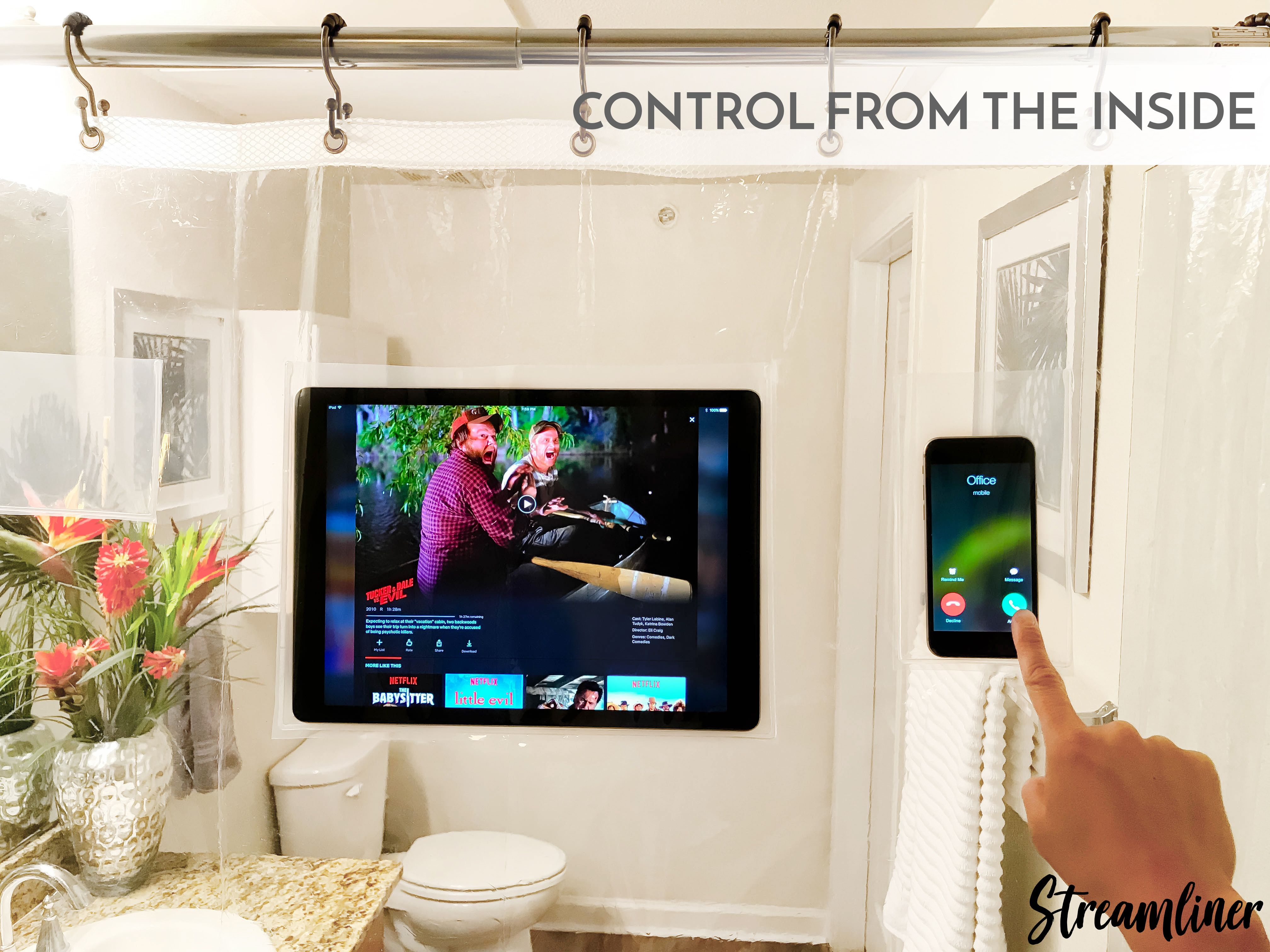 Streamliner Allows You To Touch Watch Listen To Your Phone Or Tablet While In The Shower Or Bath Without Putting Your Elect Tablet Baby Monitor Smart Device