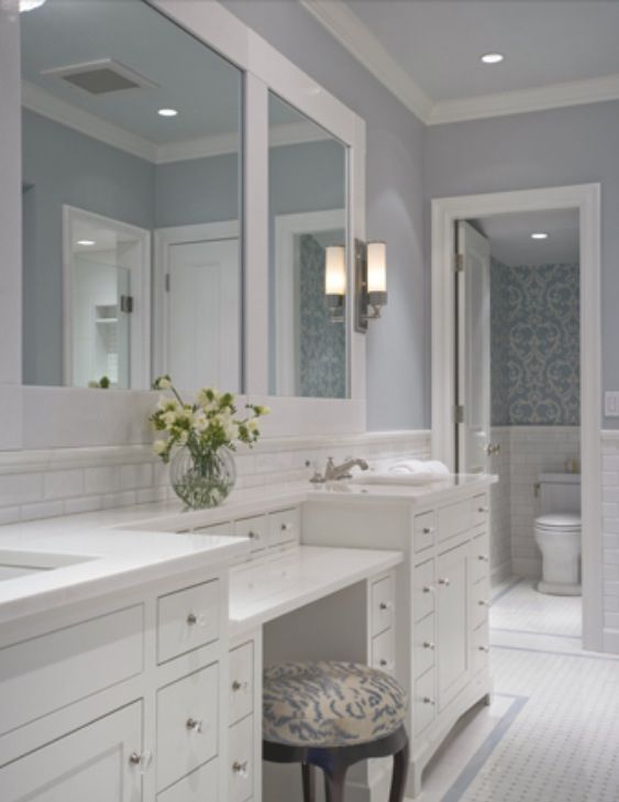 The Tile Floor Border Detail Wallpaper Stencilling In Wc Beautiful And Sophisticated Calming Blue Bathroom With Vanity Marble White Cabinets