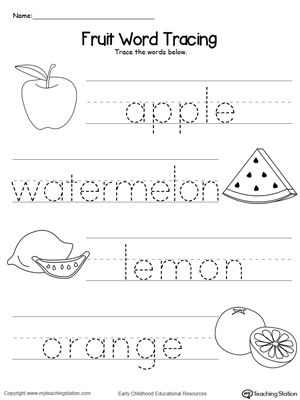 Fruit Word Tracing With Images Preschool Writing Pre K