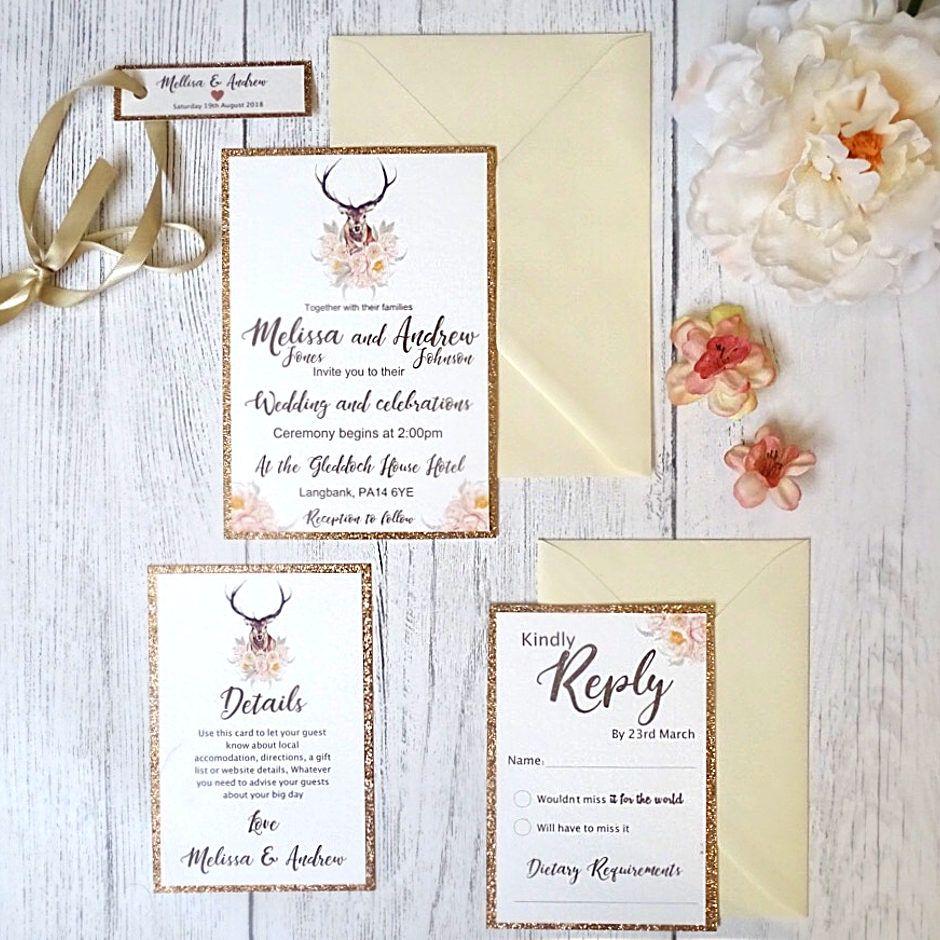 Vintage Stag Rose Gold Glitter Wedding Invitation Sets - SAMPLE ...