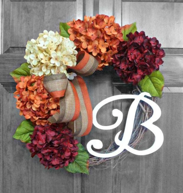 Fall Wreaths - Wreaths for Front Door - Hydrangea Wreath - Monogram Wreath - Front Door Wreath - Front Door Decorations - Door Wreath