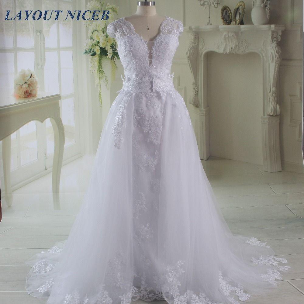 Detachable skirt wedding dress  White Elegant Vestido De Noiva Long Bridal Gown Detachable Skirt