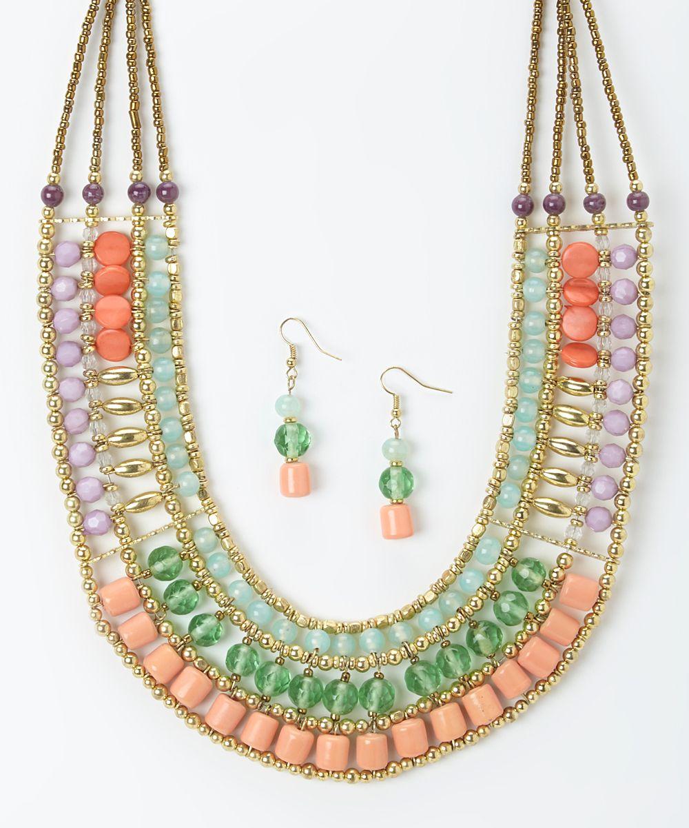 Pretty Tiered Necklace  Drop Earrings