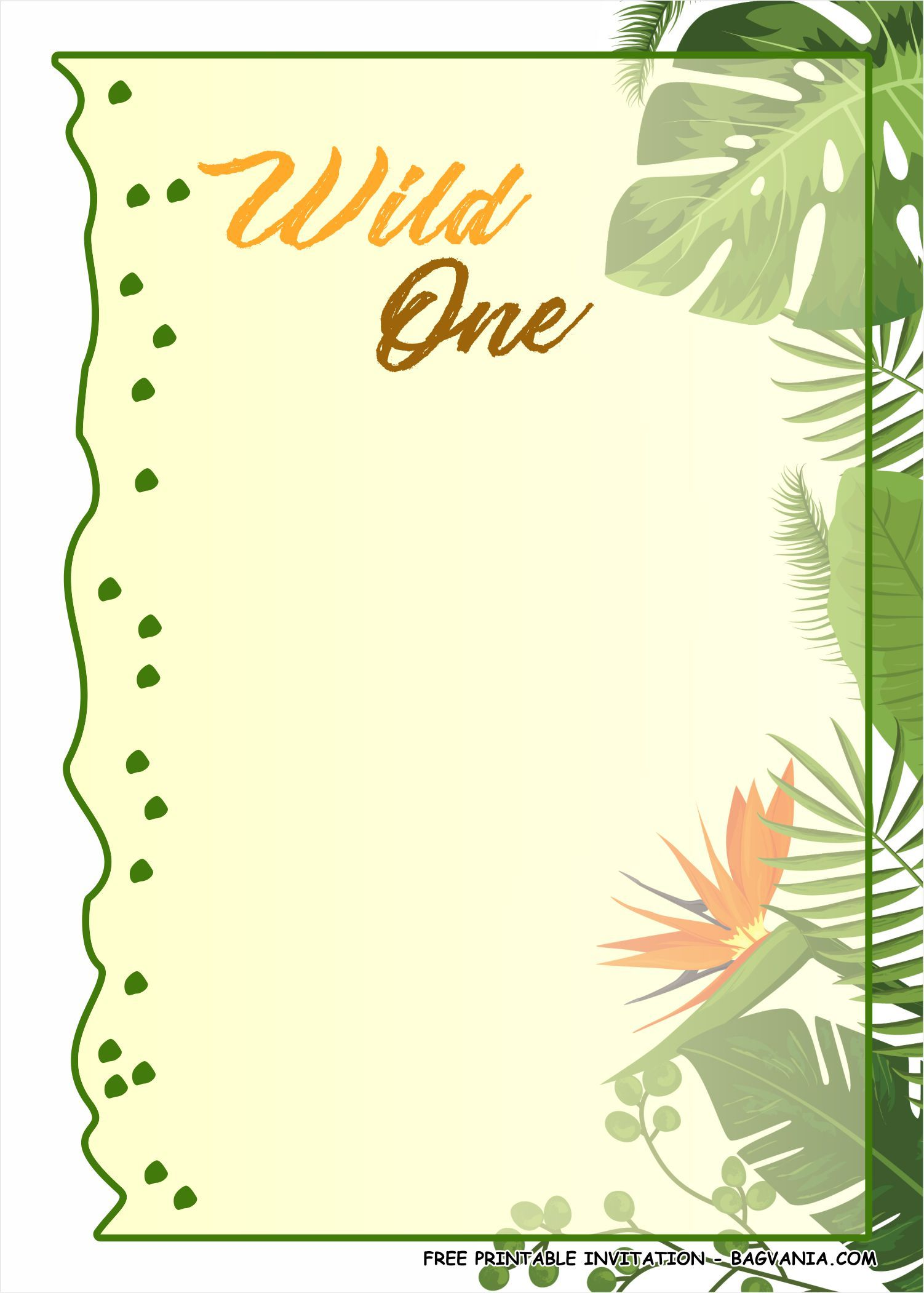 free printable wild one birthday party