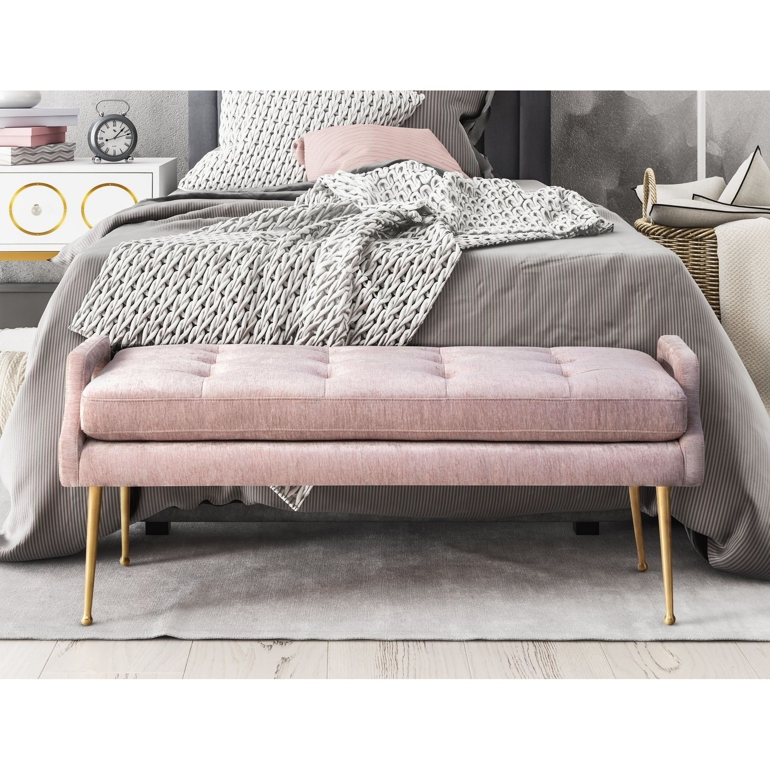 Best Online Furniture Stores Affordable: Eileen Blush Slub Velvet Bench, Pink
