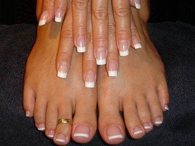 French Mani & pedi (I love love loveeee how pretty and classy the French tips are) I think feet look less disgusting this way also!!!! :)