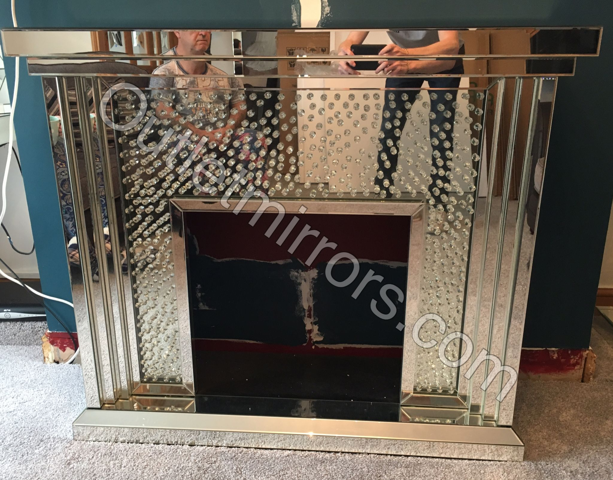 floating crystal mirrored fire surround www outletmirrors com