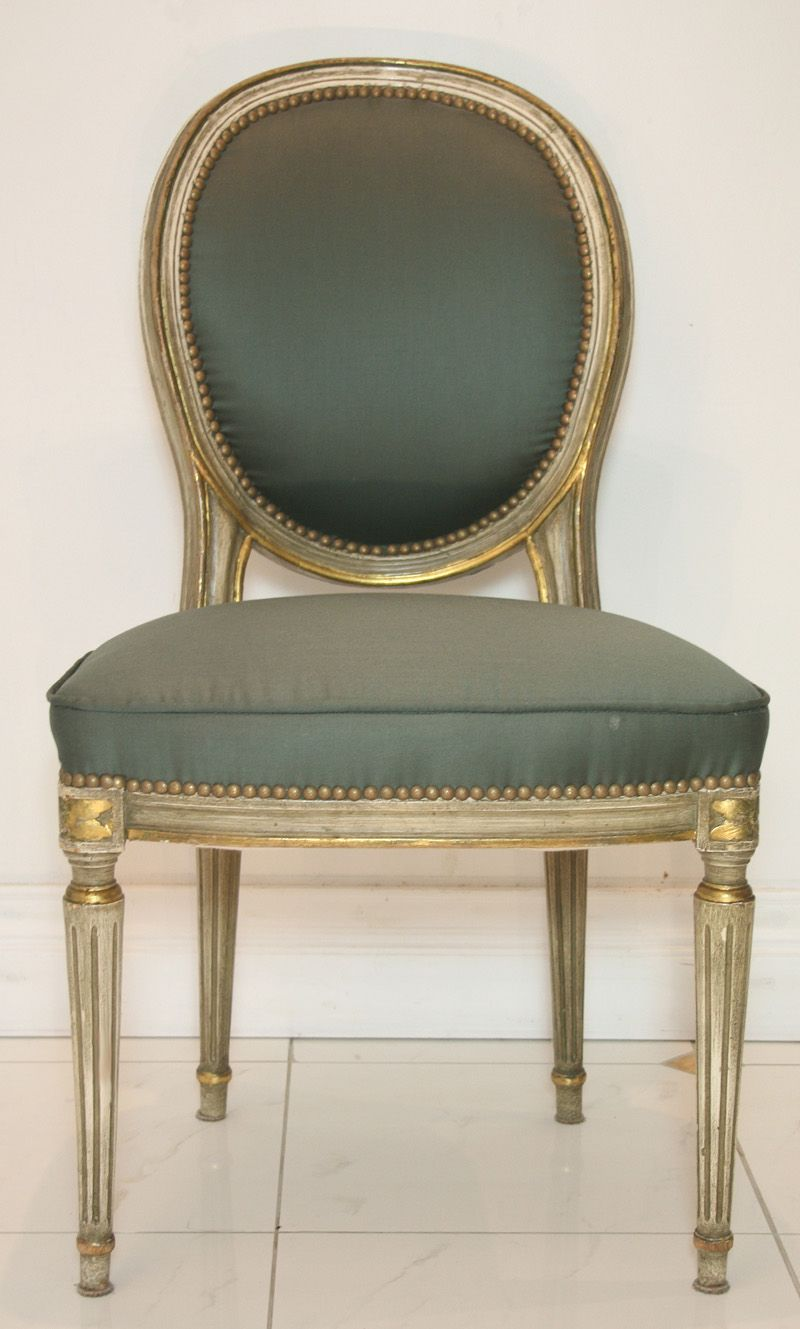 This A Beautiful Marriage....the Restrained Gray Fabric On This Traditional  Chair