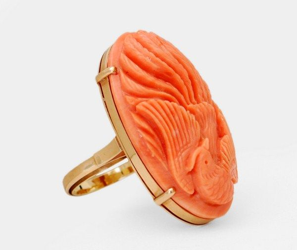 14K Gold & Finely Carved Coral Ring - by Palm Beach Modern Auctions