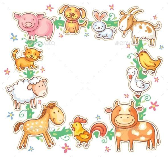 Square Frame With Cute Cartoon Farm Animals No Gradients Farm Animals Animal Doodles Cartoon Animals