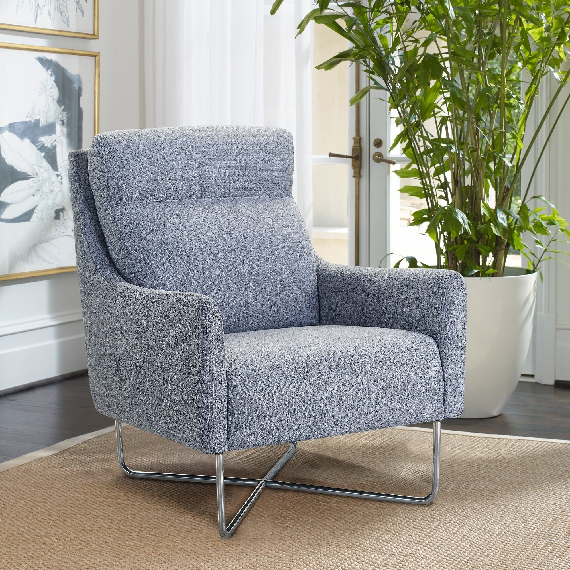 Amber Contemporary Swoop Arm Accent Chair With Metal Base Grey