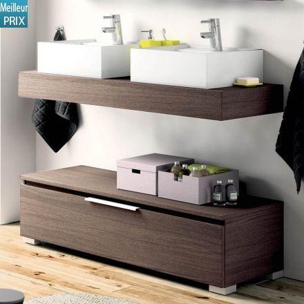Plan vasque suspendu et mobilier à poser en bois pour salle de bain ...