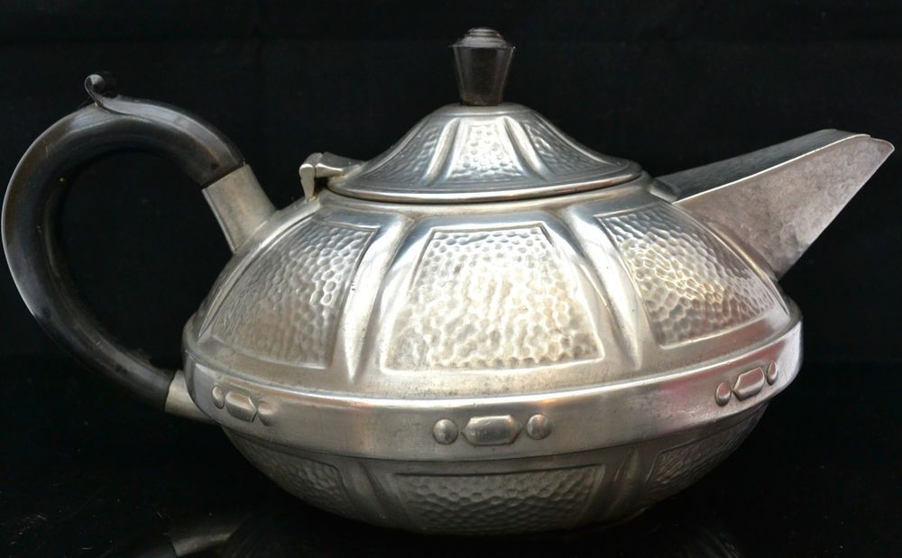Vintage Craftsman Pewter Teapot Art Deco Collectable Shabby Chic