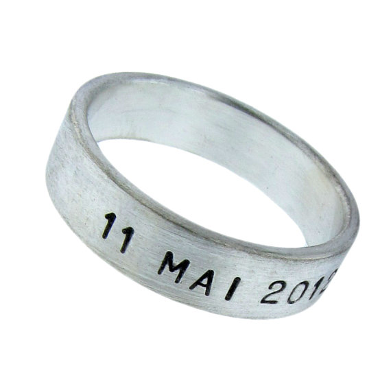 Personalized 14K Gold Wedding Ring Hand Stamped Date Names Vows