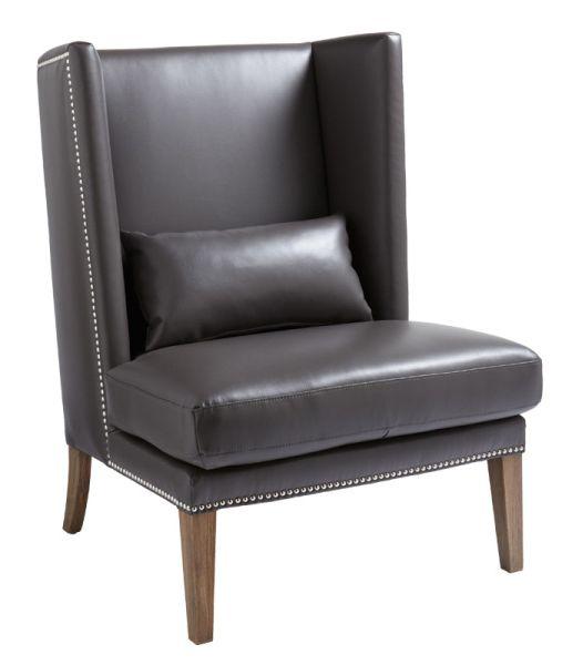 Malibu Wing Chair Leather Grey by Sunpan/inside avenue