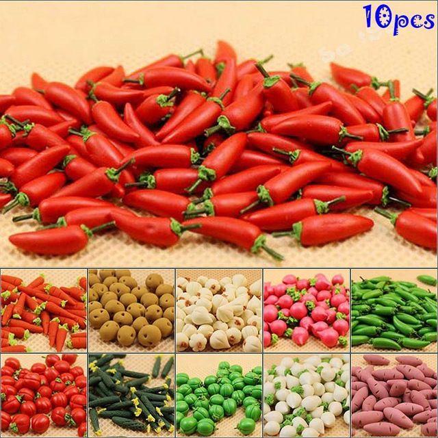 10Pcs 1:12  Dollhouse toys kitchen accessories miniature vegetables sweet pot.US