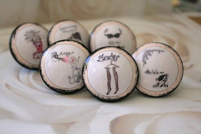Meubles Meubles boutons bouton rond design rétro Boutons de meuble - peinture pour relooker meuble en bois