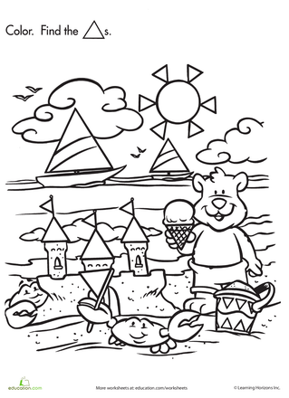Shape Search: Baby Bear at the Beach | Search, Summer and Beaches