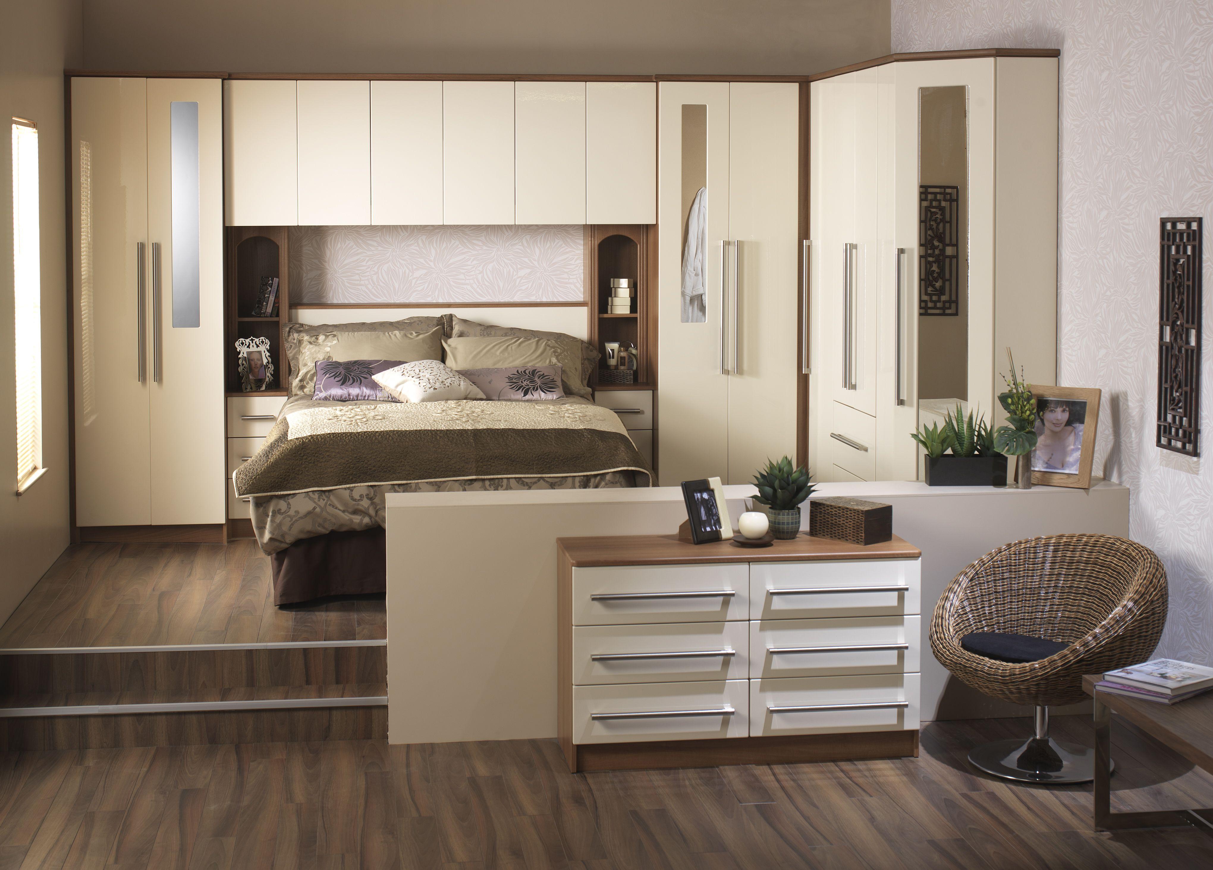 Slick, modern bedroom Blue.. Timber.. Cream.. Bedroom